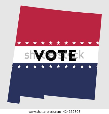 Vote New Mexico state map outline. Patriotic design element to encourage voting in presidential election 2016. vote New Mexico vector illustration.