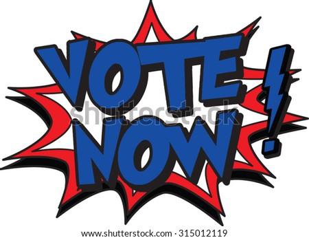 vote now - stock vector