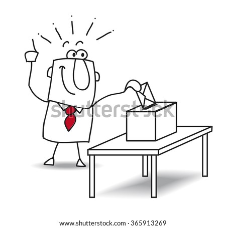 Vote of Joe. Joe is a good citizen. He votes for this election - stock vector