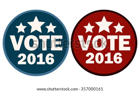 Vote 2016 Red and Blue Sticker Signs, Vector Illustration.