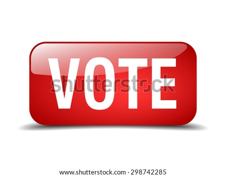 vote red square 3d realistic isolated web button