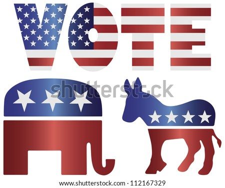 Vote Republican Elephant and Democrat Donkey with American USA Flag Silhouette Illustration - stock vector