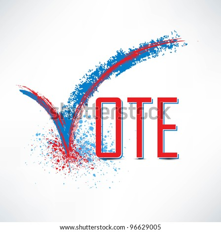 Vote text with check mark and check box - stock vector