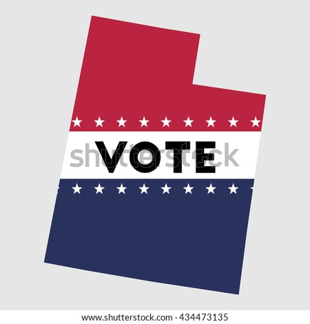 Vote Utah state map outline. Patriotic design element to encourage voting in presidential election 2016. vote Utah vector illustration.
