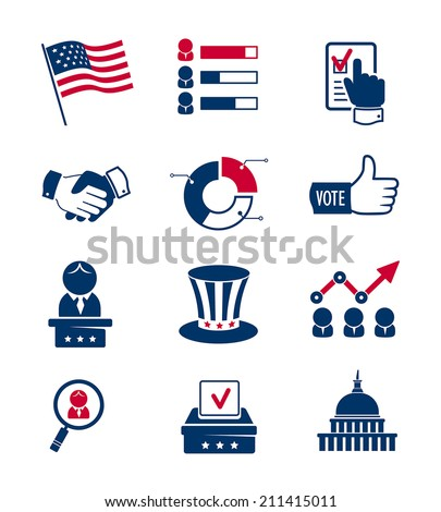 Voting and elections icons - stock vector