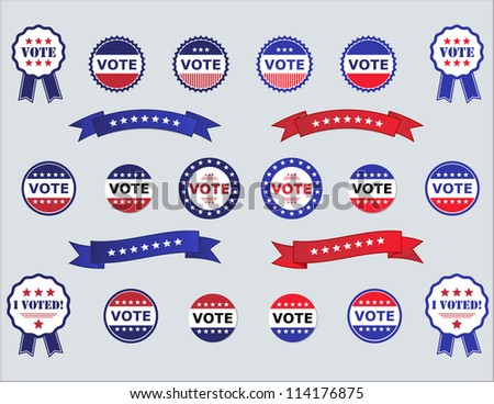 Voting Badges and Stickers for Elections - stock vector