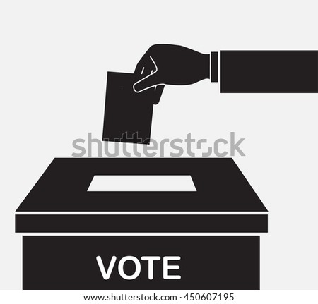 Voting concept. Hand putting paper in the ballot box  - stock vector