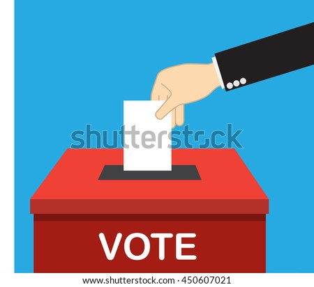 voting concept, hand putting voting paper in the ballot box - stock vector