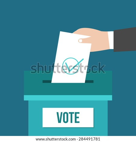 Voting concept in flat design. Hand putting voting paper in the ballot box. - stock vector