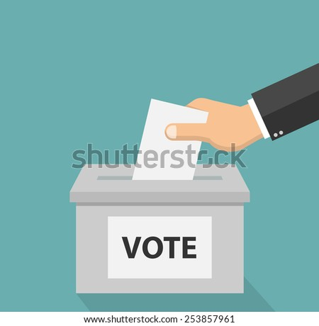 Voting concept in flat style - hand putting voting paper in the ballot box - stock vector