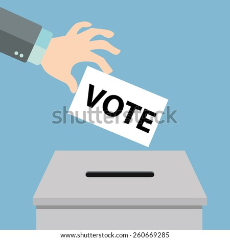Voting concept in flat style - hand putting voting paper in the ballot box. - stock vector