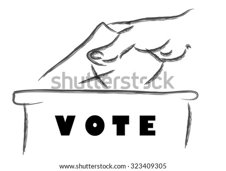 Voting concept, Vote ballot with box