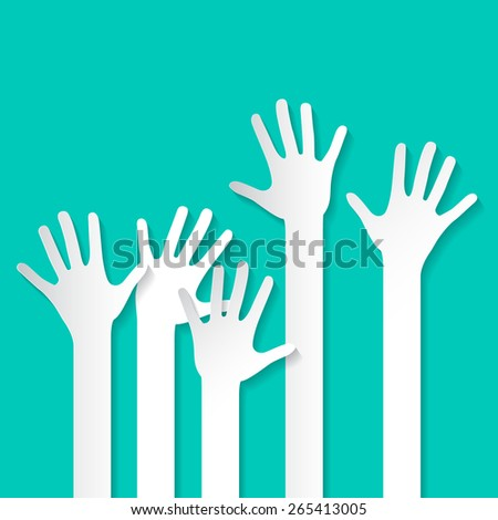 Voting Hand - Paper Cut Palm Hands Set Vector Illustration on Retro Background - stock vector