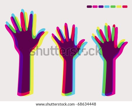 Voting hands - hands up illustration - stock vector