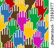 Voting hands - seamless pattern - stock vector