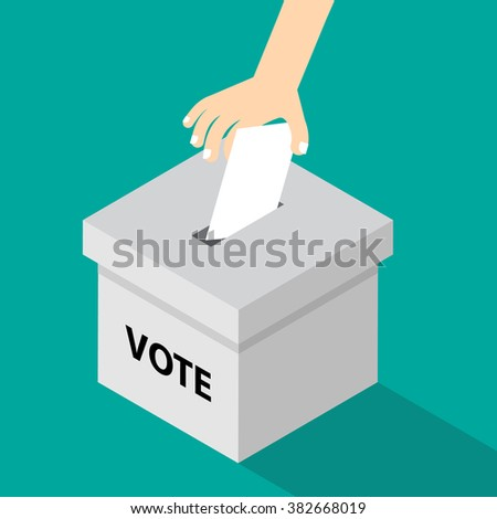 voting illustration flat style - hand putting voting paper in the ballot box - stock vector