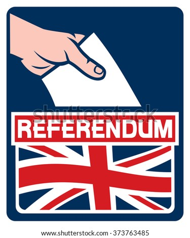voting in the united kingdom european union membership referendum - illustration of a ballot box  - stock vector