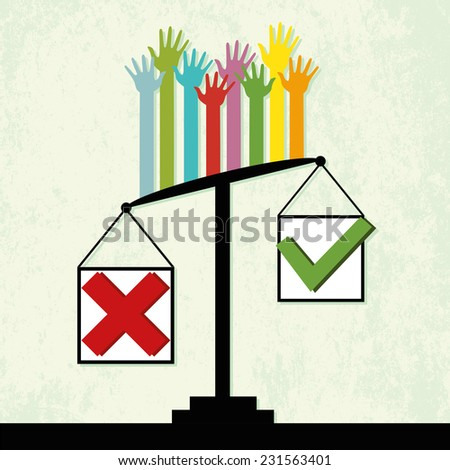 "Voting results on scales, people vote ""No"". Vector"