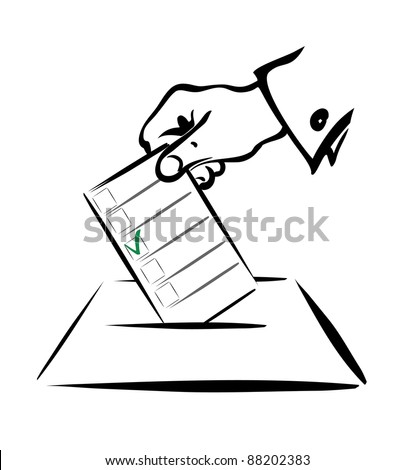 voting symbol in simple black lines, isolated illustration - stock vector