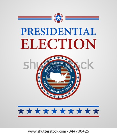 voting symbols vector design presidential election, voting symbols with label USA map - stock vector