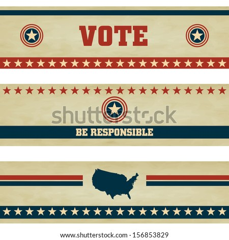 Voting Symbols vector set banner design - stock vector