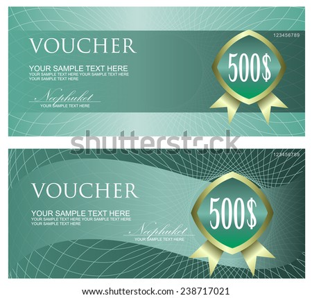 Voucher, Coupon, Gift certificate, ticket template. Guilloche pattern (watermark, spirograph). Background - stock vector