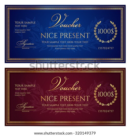 Voucher, Gift certificate, Coupon, Gift money bonus or Gift card template with scroll pattern (border, frame). Background for reward design, invitation, ticket, banknote, currency, check (cheque),