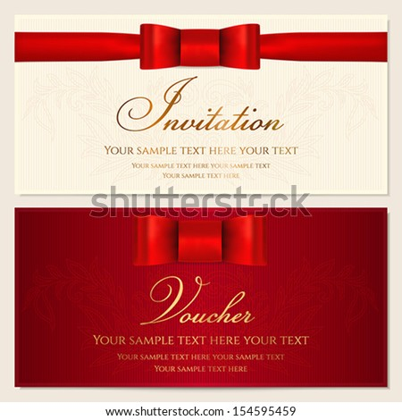 Voucher, Gift certificate, Coupon, Invitation or Gift card template with red bow (ribbon) and floral (scroll) pattern. Background design for banknote, check (cheque). Vector in red (maroon) colors - stock vector