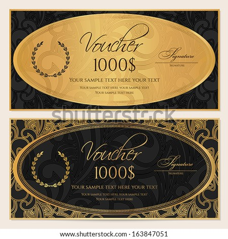 Voucher, Gift certificate, Coupon template. Floral, scroll pattern, gold ellipse frame. Black background design for invitation, ticket, banknote, money design, check (cheque). Vector - stock vector