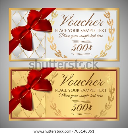 Voucher Gift Certificate Coupon Template Border Stock Vector