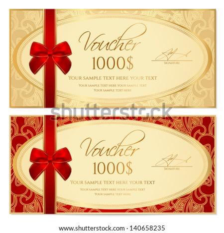 Voucher / Gift certificate / Coupon template with border, frame, bow (ribbons). Background design for invitation, banknote, diploma, money design, currency, check. Vector in gold, red (maroon) colors - stock vector