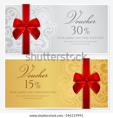 Voucher, Gift certificate, Coupon template with border, frame, bow (ribbons). Background design for invitation, banknote, money design, currency, check (cheque). Vector in gold, red (maroon) colors - stock vector