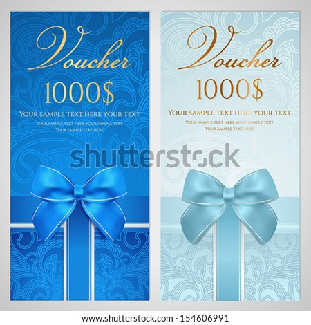 Voucher, Gift certificate, Coupon template with gift bow (ribbons, present). Holiday (celebration) background design (Christmas, Birthday) for invitation, banner, ticket. Vector in blue color - stock vector