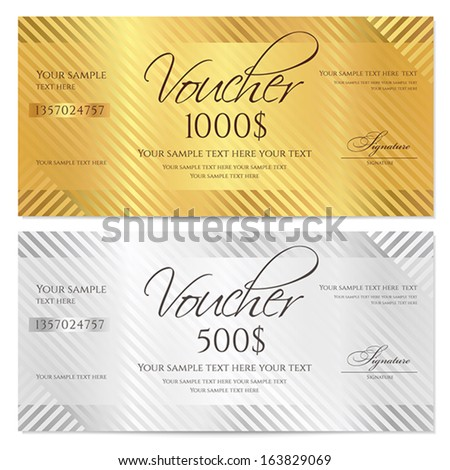 Voucher, Gift certificate, Coupon template with stripe pattern. Gold and silver background for money design, currency, note, check (cheque), ticket, reward. Vector - stock vector