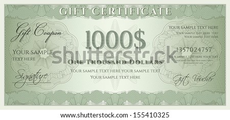 Voucher, Gift certificate, Coupon, ticket template. Guilloche pattern (watermark, spirograph). Background for banknote, money design, currency, bank note, check (cheque), ticket. Green vector - stock vector