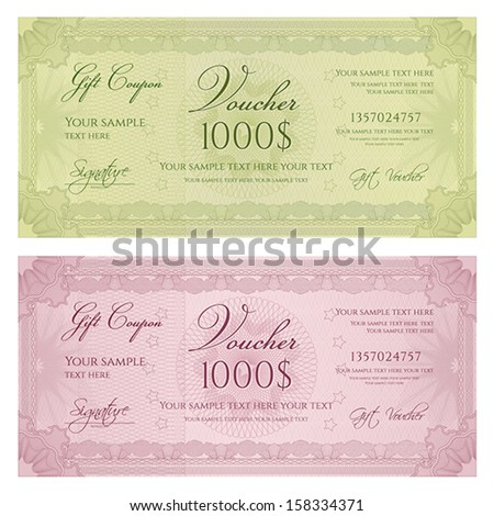 Voucher, Gift certificate, Coupon, ticket template. Guilloche pattern (watermark, spirograph). Currency, note, money design - stock vector