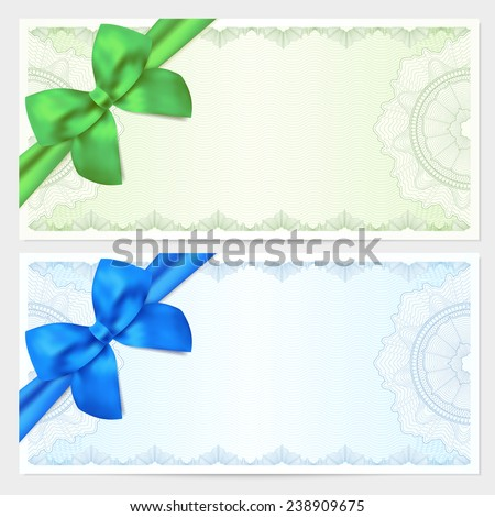 Voucher, Gift certificate, Coupon, ticket template. Guilloche pattern (watermark, spirograph) with bow (ribbon). Green, blue backgrounds for banknote, money design, currency, bank note, check (cheque) - stock vector