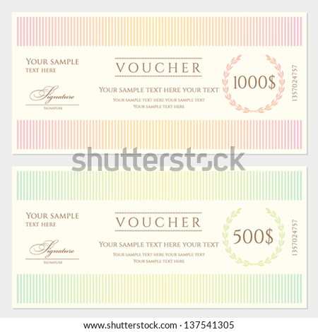Voucher / Gift certificate template with colorful stripy pattern and border. Background usable for coupon, banknote, money design, currency, note, check etc. Vector in vintage color - stock vector