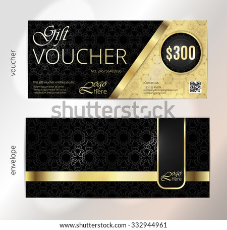 Voucher, Gift luxury certificate, Coupon template. Vintage pattern. Background design for invitation, ticket, banknote, money design, currency, check (cheque). Black, gold vector - stock vector