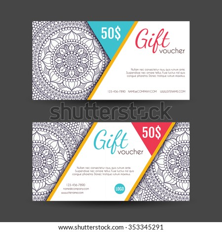 Voucher business card vintage decorative elements stock vector voucher or business card vintage decorative elements ornamental floral business cards oriental pattern reheart Gallery