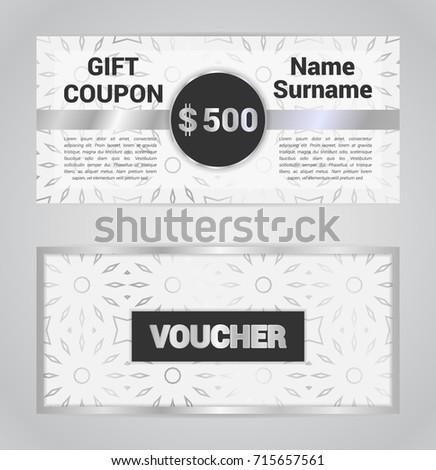 Voucher Template Gift Coupon Discount Banner Stock Vector (2018 ...