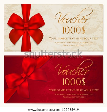Voucher template with border and red bow (ribbons). This background design usable for gift coupon, voucher, invitation, certificate, diploma, ticket etc. Vector - stock vector