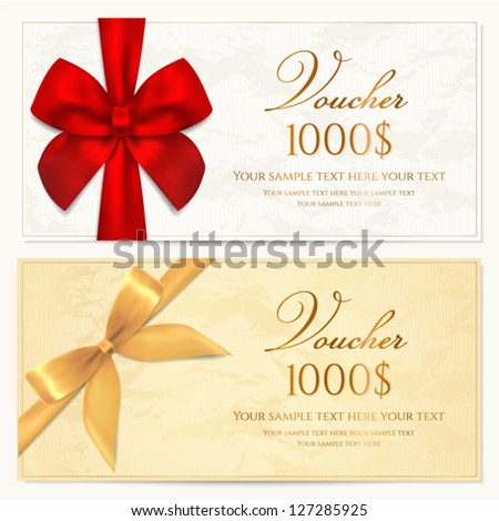 Voucher template with floral pattern, border, red and gold bow (ribbons). Design usable for gift coupon, voucher, invitation, certificate, diploma, ticket etc. Corrugated background. Vector