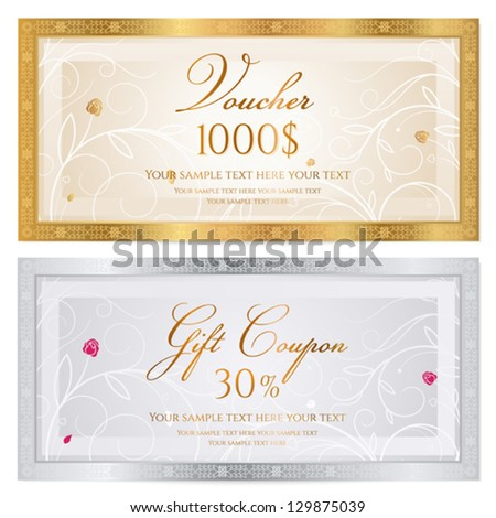 Voucher template with floral pattern, watermark and border. Background design usable for gift coupon, banknote, certificate, diploma, check etc. Vector illustration in golden and silver colors - stock vector