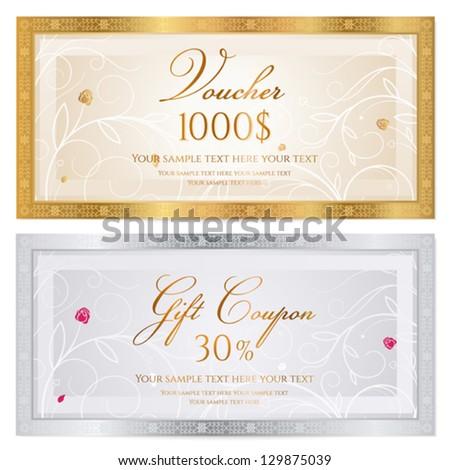 Voucher Gift Certificate Coupon Template Floral Vector – Voucher Sample Design