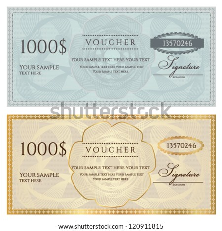 Voucher template with guilloche pattern (watermark) and border . This background design usable for voucher, coupon, gift, banknote, certificate, diploma, currency, check etc. Golden and blue vector - stock vector