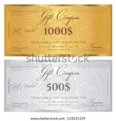 Voucher template with guilloche pattern (watermarks) and border. Background design usable for gift coupon, banknote, certificate, diploma, currency, check etc. Vector in golden and silver colors - stock vector