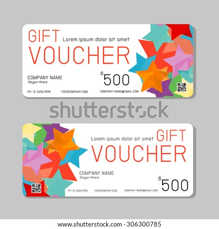 Gift Voucher Template Colorful Pattern Stock Vector