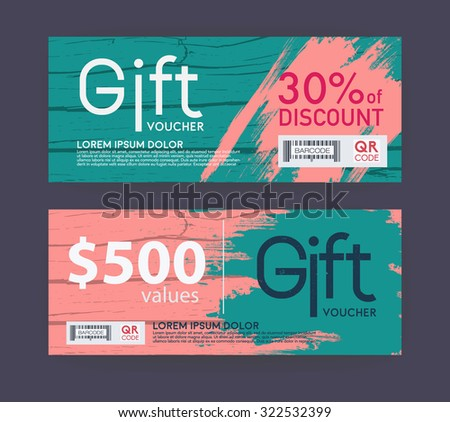Voucher template with vintage pattern. - stock vector