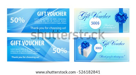 Voucher template with wavy background and blue bow ribbons. design usable for gift coupon, voucher, invitation, certificate, diploma, ticket etc. Vector.